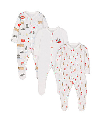 Mothercare Heritage London Sleepsuits - 3 Pack