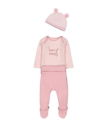 Pink Bear Three Piece Set