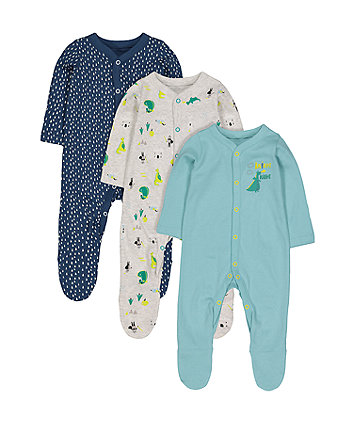 Knight Sleepsuits - 3 Pack