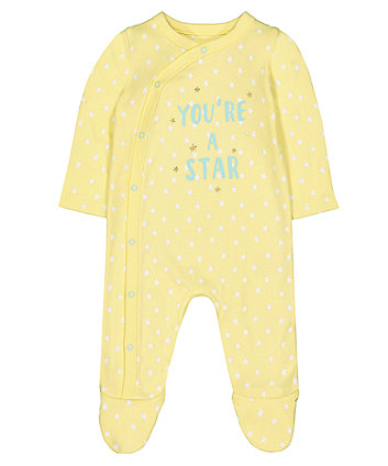 Yellow You'Re A Star Sleepsuit