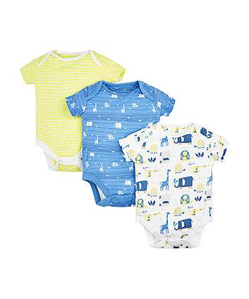 Mothercare Safari Animal Bodysuits - 3 Pack