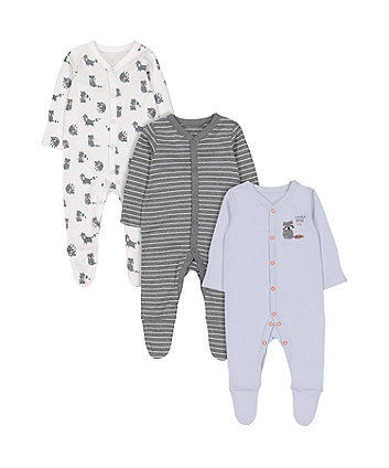 Mothercare Raccoon Sleepsuits - 3 Pack