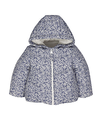 Mothercare White Floral Fleece-Lined Jacket