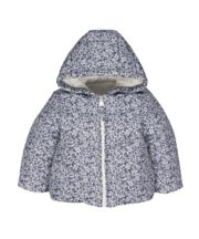 White Floral Fleece-Lined Jacket
