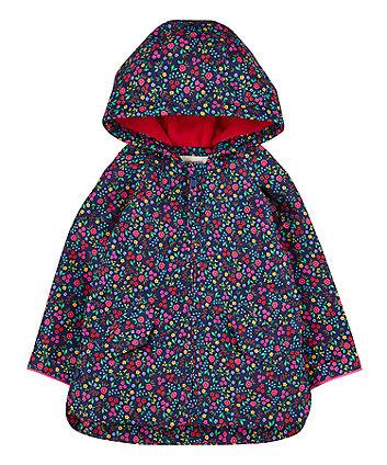 Navy Floral Fleece-Lined Mac