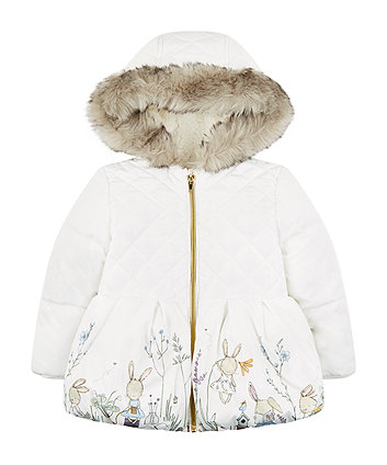 White Padded Jacket With Border Print