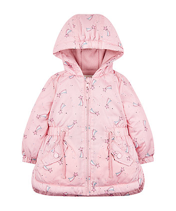 Pink Star Fleece-Lined Mac