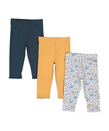 Navy, Mustard And Grey Floral Leggings - 3 Pack