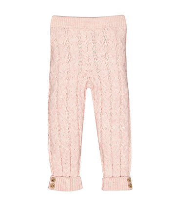 Mothercare Pink Cable Knit Leggings