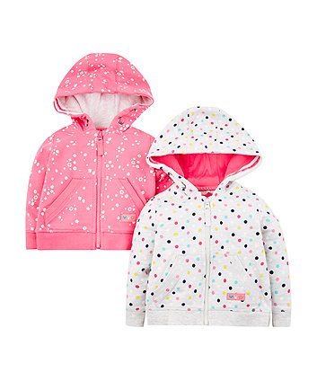Mothercare Pink Flower And Grey Spot Hoodies - 2 Pack