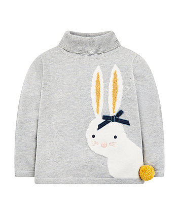 Grey Bunny Roll Neck Jumper