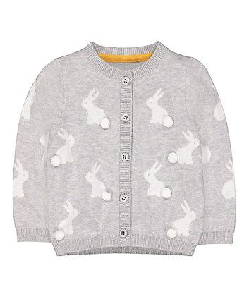 Grey Bunny Pom Pom Cardigan