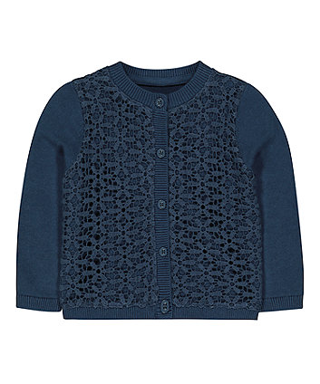 Mothercare Navy Woven Front Cardigan