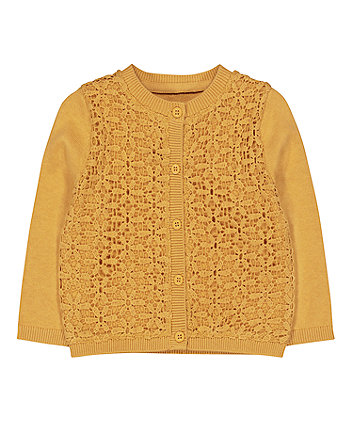 Mustard Woven Front Cardigan