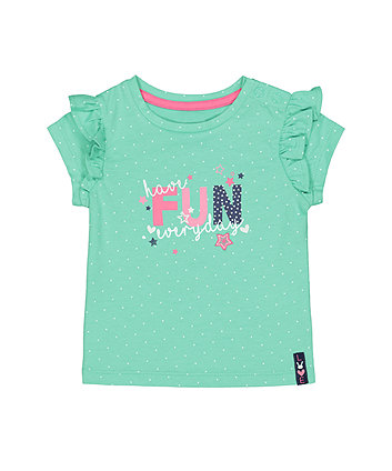 Mothercare Green Fun Frill T-Shirt