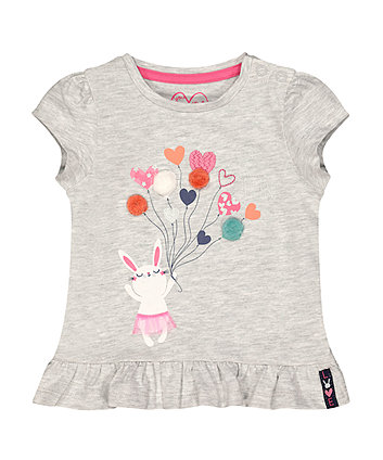 Mothercare Grey Bunny Balloon T-Shirt