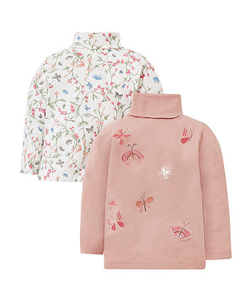 Mothercare Floral Butterfly Roll Neck T-Shirts - 2 Pack