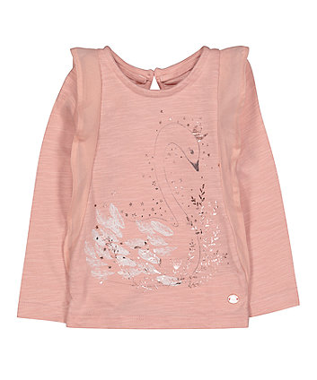 Mothercare Pink Frill Swan T-Shirt