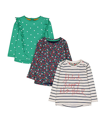 Mothercare Stripe, Spot And Floral T-Shirts - 3 Pack
