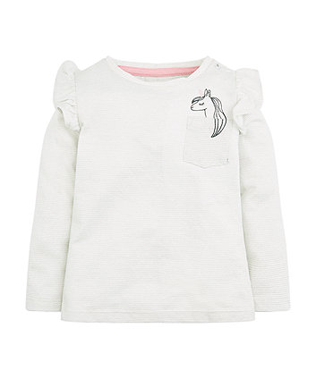 Mothercare Cream Unicorn Frill T-Shirt