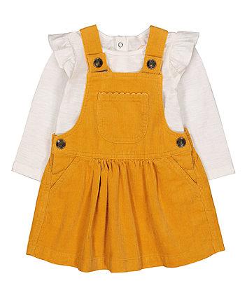 Mothercare Mustard Cord Pinny And T-Shirt Set