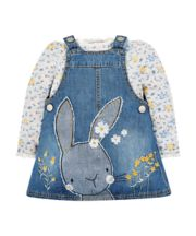 Denim Bunny Pinafore Dress And T-Shirt Set