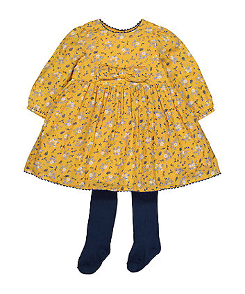 Mustard Floral Dress And Tights Set