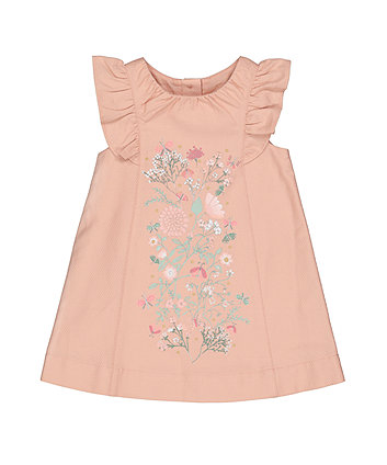 Mothercare Pink Floral Jacquard Dress