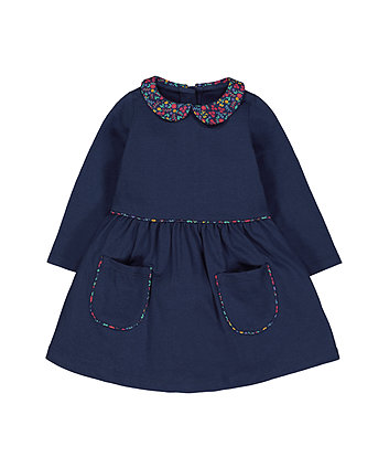 Mothercare Navy Floral Collar Dress