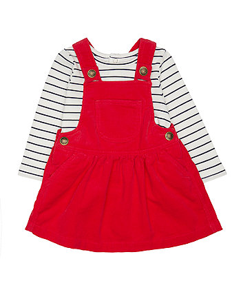Mothercare Red Cord Pinny And T-Shirt Set