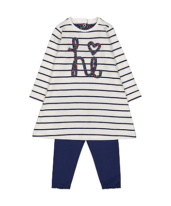 Mothercare Hi Striped Dress And Leggings Set
