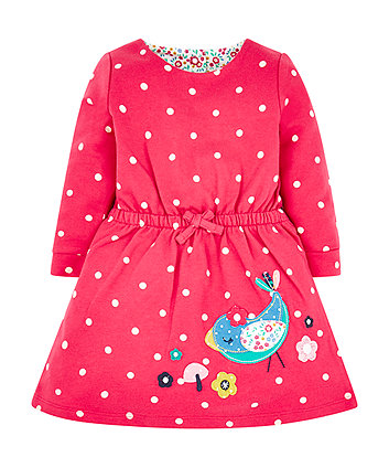 Mothercare Red Spot Bird Sweat Dress