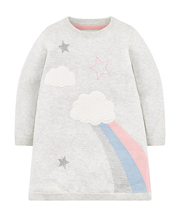 Mothercare Grey Knit Cloud Dress And Tights Set
