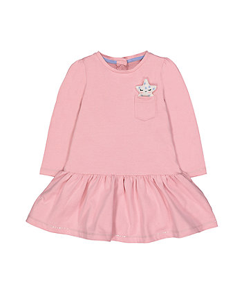 Mothercare Pink Star Jersey Dress And Tights Set