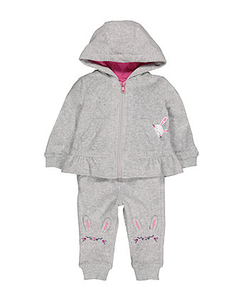 Mothercare Grey Bunny Velour Jog Set