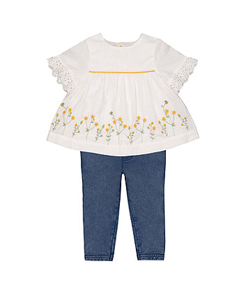 Embroidered Blouse And Jeggings Set