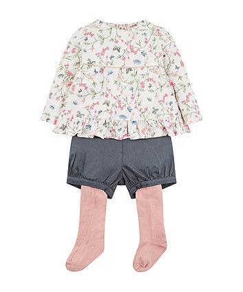 Floral Tunic, Shorts And Tights Set