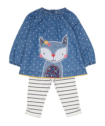 Mothercare Denim Fox Blouse And Leggings Set