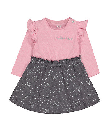 Mothercare Grey And Pink Stars Twofer Dress