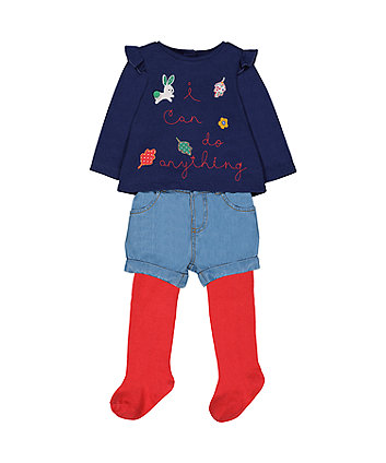Mothercare I Can Do Anything Sweat Top, Shorts And Tights Set