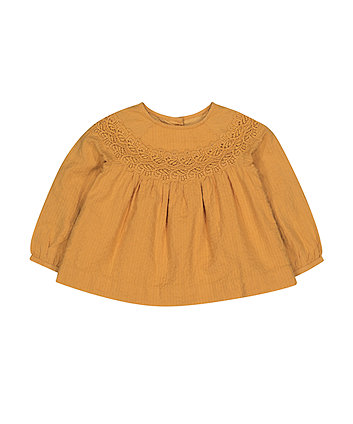 Mustard Crochet Blouse