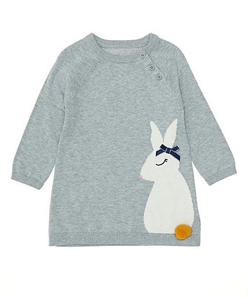 Grey Bunny Knit Dress