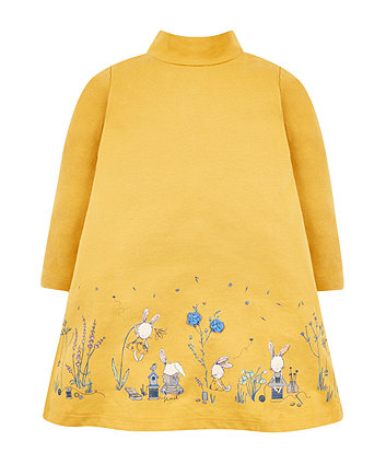 Mothercare Mustard Bunny Jersey Dress