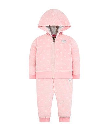 Pink Heart Velour Jog Set