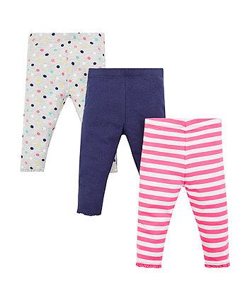 Mothercare Grey Spotty Leggings - 3 Pack