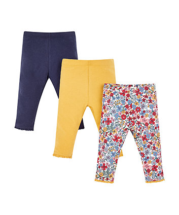 Mothercare Navy And Mustard Floral Leggings - 3 Pack