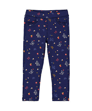 Blue Floral Butterfly Jeggings