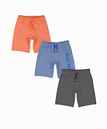Mothercare Blue, Orange And Grey Space Dude Shorts - 3 Pack