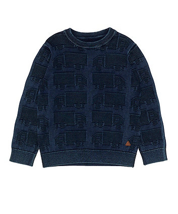 Mothercare Blue Truck Knit Jumper