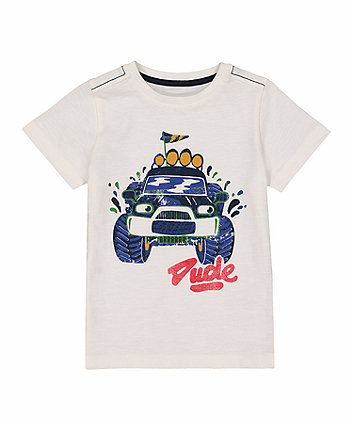 Mothercare Off-White Monster Truck T-Shirt